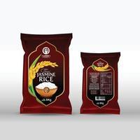 maqueta de paquete de arroz productos alimenticios de Tailandia, ilustración vectorial vector
