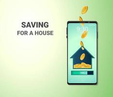 Dinero digital en línea y espacio en blanco en el fondo del sitio web móvil del teléfono ahorro o depósito para un concepto de distancia social de la casa vector