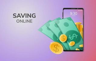 Dinero digital en línea y espacio en blanco en el teléfono, ahorro de fondo del sitio web móvil o concepto de distancia social de depósito vector