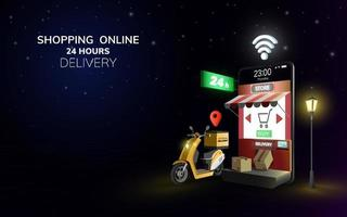 Entrega global en línea digital en scooter con teléfono móvil en concepto de fondo nocturno para entrega de alimentos en 24 horas