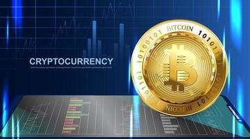Bitcoin moneda criptográfica. banner de tecnología de dinero web digital de fondo azul con espacio de copia.
