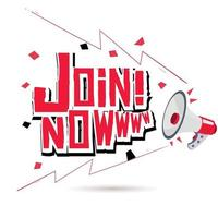 Megaphone with Join now text vector