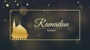 Fondo islámico ramadan kareem, eid mubarak con ilustración de vector de luz bokeh