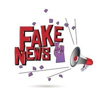 Megaphone with  fake news text vector