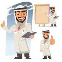 Muslim doctor. Islamic profession concept vector
