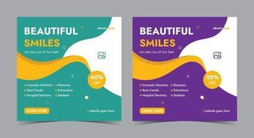 cartel de sonrisa hermosa, publicación de redes sociales dentales y folleto vector