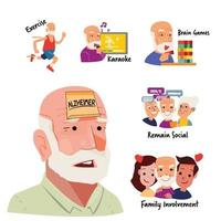Treatments for Alzheimer and Dementia, information graphic vector