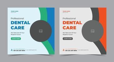 cartel de cuidado dental, publicación en redes sociales dentales y folleto. vector