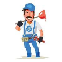 Plumber character vector illustration