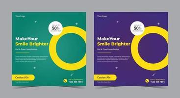 haga que su sonrisa sea más brillante, póster, publicación de redes sociales dentales y folleto vector