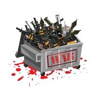 War weapons in garbage with blood. Stop war concept. vector