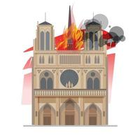 Notre Dame cathedral in Paris on fire vector