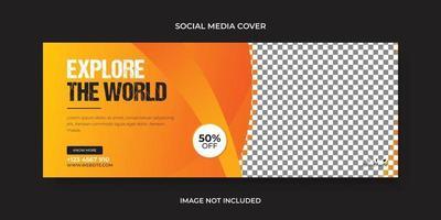 Explore the world social media cover or banner, web banner template design vector