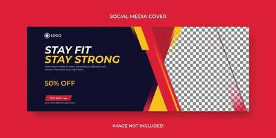 Gym fitness training center social media cover page timeline online website banner template vector