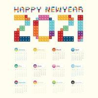 2021 calendario calendario diseño vectorial. vector