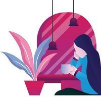 Girl waiting flat illustration vector
