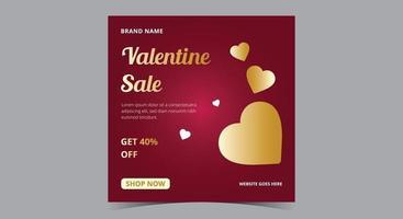 Valentine sale poster, Valentine social media post and flyer vector