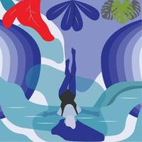 relaxed girl in water flat illustration vector