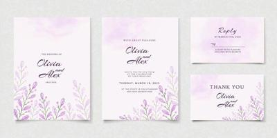 Purple leaves wedding invitation card vector