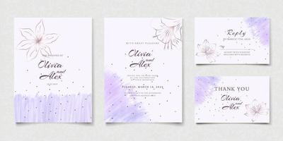 Watercolor floral wedding invitation card set vector
