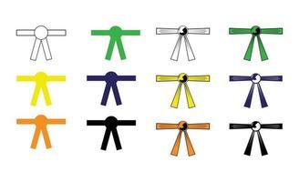 Conjunto de cinturones de karate aislado sobre fondo blanco. vector