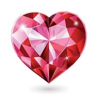 Red diamond heart isolated vector illustrations