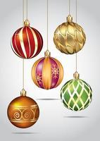 adornos navideños colgando de hilo de oro. ilustración vectorial. vector