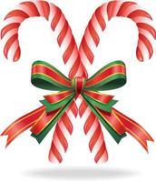 bastón de caramelo de navidad y cinta. ilustración vectorial.