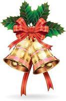 Decoración navideña. campanas y hoja de acebo. ilustración vectorial