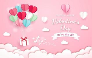 caja de regalo con globo en estilo de corte de papel de cielo. Fondo de la tarjeta del día de San Valentín. vector