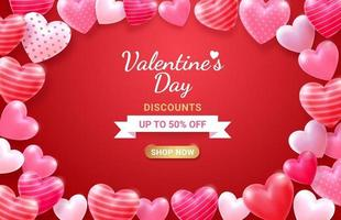 Valentine's day card with Heart 3D and ribbon background. vector