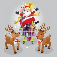 santa claus y dos renos de compras navideñas. vector