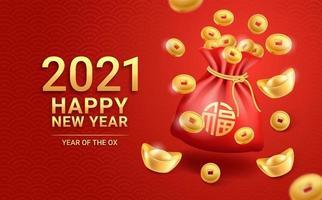 año nuevo chino 2021 lingotes de oro monedas de oro y bolsa roja sobre fondo de tarjetas de felicitación. ilustraciones vectoriales. vector