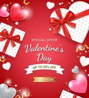 Gift box with red ribbon and 3d heart. Valentines day card background. vector