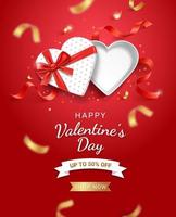 caja de regalo blanca vacía en forma de corazón abierto con cinta roja. ilustraciones de vectores de fondo de tarjeta de San Valentín.