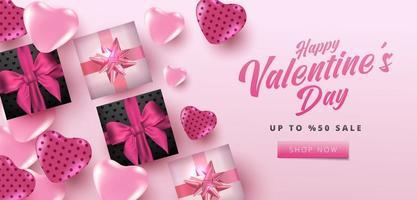 Venta de San Valentín 50 de descuento en póster o pancarta con corazones y caja de regalo realista sobre fondo rosa suave. Plantilla de compras y promoción para el diseño de concepto del día de San Valentín. vector