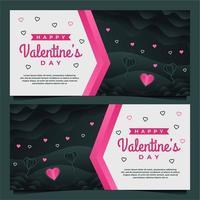 Plantilla de banner de feliz día de San Valentín con plantilla de fondo oscuro vector