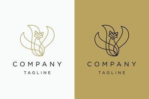 Fox minimalist logo template vector