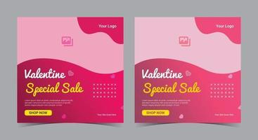 Valentine special sale poster, Valentine social media post and flyer vector