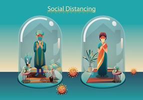 distanciamiento social, las personas mantienen la distancia y evitan el contacto físico, el apretón de manos o el toque de la mano para protegerse del concepto de propagación del coronavirus covid-19, la gente está usando el saludo indio de namaste vector