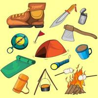 Collection of illustrations about camp, consisting of boots, tents, knives, campfires, compasses, axes, sleeping mats, cups, flasks and others vector