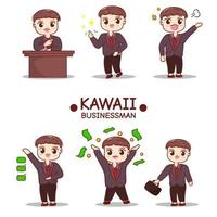 businessman character in various poses, at table, angry, happy, using suitcases and checking lists vector