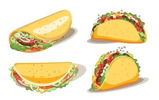 Taco and burrito, Fast food with sauce, Mexican traditional food, Isolated vector illustration