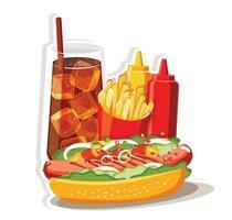 Hot dog Fast food set, Isolated vector illustration