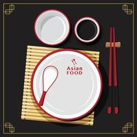 Empty plate set, dining spoon, Asian food, vector illustration