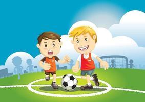 niños jugando al fútbol al aire libre. ilustración vectorial. vector