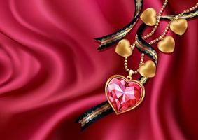 Necklace heart on red silk. Vector illustration.
