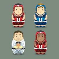 Boxing russian dolls. Vector illustration.