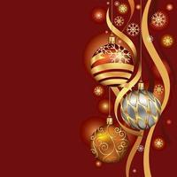 Christmas ornaments hanging on gold thread background. Vector illustration.