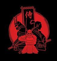 Samurai with Flag Japanese Font Mean Samurai vector